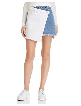Color Block Overlay Denim Mini Skirt by Blanknyc