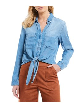 Button Front Tie Front Long Sleeve Chambray Shirt by Chelsea & Violet
