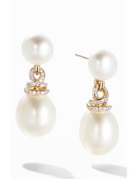 Helena Pearl 18 K Yellow Gold Drop Earrings With Diamonds by David Yurman