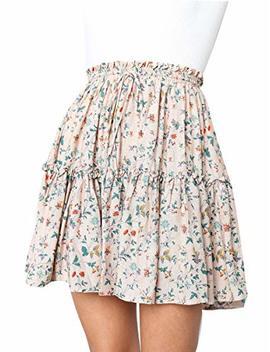 Ruigo Women Bohemian Flower Printed High Elastic Summer Pleated Mini Short Skirt by Ruigo