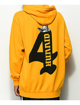 4 Hunnid Cupid Gold Hoodie by 4 Hunnid