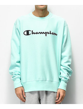 Champion Reverse Weave Mesh & Leather Logo Mint Green Crew Neck Sweatshirt by Champion