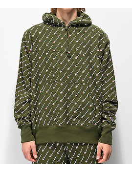 Champion Reverse Weave All Over Print Green Hoodie by Champion