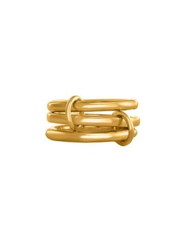 Yellow Gold 3 Connected Rings, Trio Connected Bands, 3 Linked Rings, Sterling Silver Rings, Triple Layer Rings, 3 Rings In One Finger by Etsy