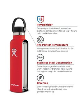 Hydro Flask 21 Oz Water Bottle | Stainless Steel & Vacuum Insulated | Standard Mouth With Leak Proof Flex Cap | White by Hydro Flask