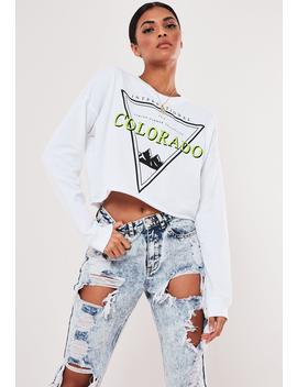 White Colorado Graphic Crop Sweatshirt by Missguided