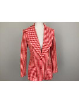 70s Polyester Blazer Pointed Collar Red Gingham Jacket Check Red White Checkered Women Jacket Small Retro Summer 1970s Vintage Clothing by Etsy