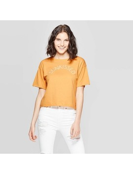 Women's Short Sleeve Sunkissed Cropped Graphic T Shirt   Modern Lux (Juniors')   Yellow by Shirt