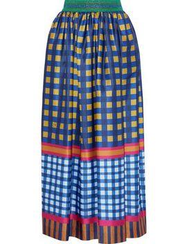 Metallic Trimmed Printed Sateen Midi Skirt by Stella Jean