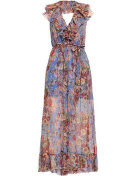 Belted Ruffled Printed Silk Georgette Halterneck Jumpsuit by Zimmermann