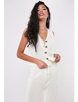 Cream Rib Co Ord Button Through Knitted Crop Top by Missguided