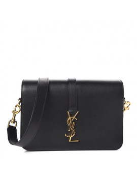 Saint Laurent Textured Calfskin Medium Classic Monogram Universite Bag Black by Yves Saint Laurent