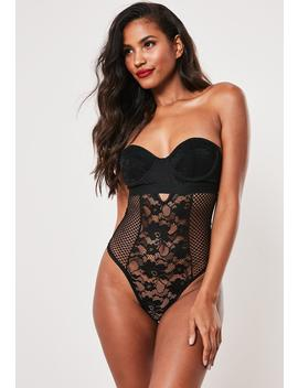 Black Lace Underwire Padded Bandeau Bodysuit by Missguided