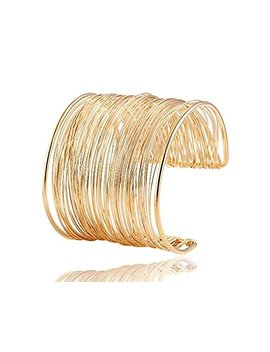 Vanvene Wire Metal Coil Thin Cuff Bracelet Bangle For Woman Fashion (Gold Color) by Vanvene