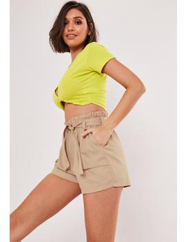 Stone Paperbag Waist Belted Utility Shorts by Missguided
