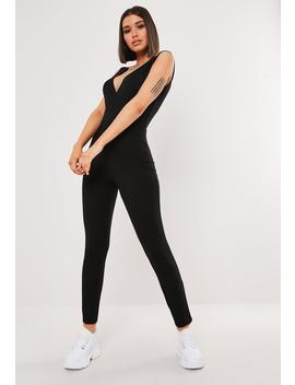 Black Wrap Front Skinny Leg Jumpsuit by Missguided