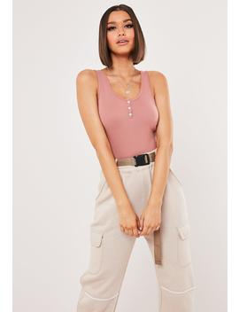 Rose Strappy Button Front Bodysuit by Missguided
