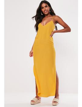 Mustard Split Leg Maxi Dress by Missguided