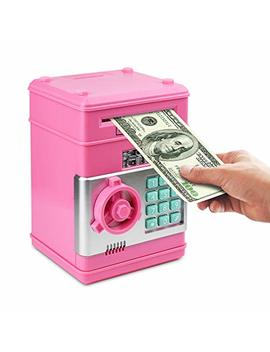 Satevin Piggy Bank, Electronic Atm Password Cash Coin Can Auto Scroll Paper Money Saving Box Toy Gift For Kids by Satevin