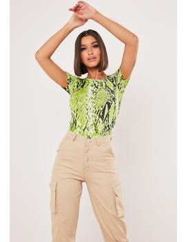 Neon Green Snake Print Bodysuit by Missguided