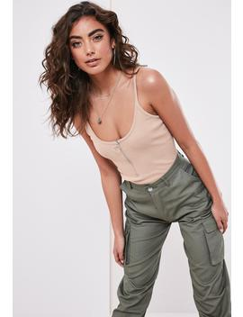 Sand Ribbed Cami Strap Zip Front Bodysuit by Missguided