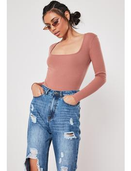 Blush Rib Scoop Neck Bodysuit by Missguided