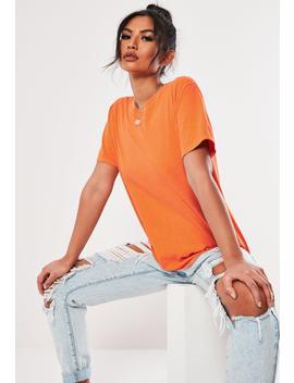Orange Washed Basic T Shirt by Missguided