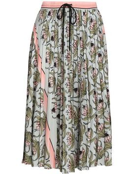 Pleated Floral Print Crepe De Chine Midi Skirt by Markus Lupfer