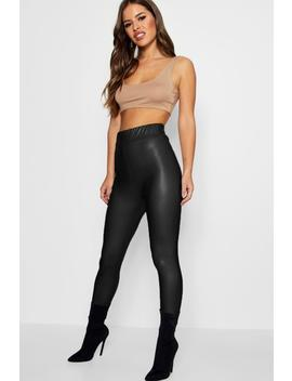 Petite Matte Leather High Waist Leggings by Boohoo