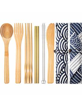 Boao 2 Sets Of Reusable Bamboo Utensils Travel Cutlery Set With Case, Forks Knives Chopsticks Spoons Straws And Brushes, Camping Flatware Set (Pattern 2) by Boao