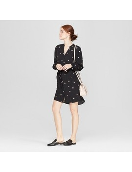 Women's Floral Print Long Sleeve Crepe Shirtdress   A New Day Black by A New Day Black