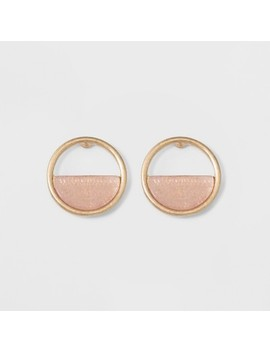 Open Button With Semi Precious Stone Inlay Earrings   Universal Thread Light Pink by Universal Thread Light Pink