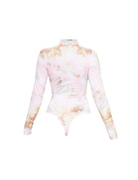 Baby Pink Renaissance Printed High Neck Long Sleeve Bodysuit by Prettylittlething
