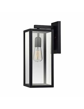 Globe Electric Bowery 1 Light Outdoor Indoor Wall Sconce, Matte Black, Clear Glass Shade 44176 by Globe Electric