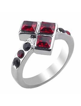 Excow Jewelry Harley Quinn Joker Suicide Squad Trigonometric Heart Red Symbol Cubic Zirconia Ring by Excow Jewelry