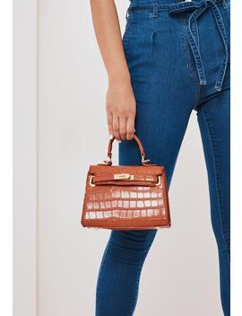 Toffee Croc Effect Mini Handbag by Missguided
