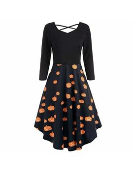 Halloween Bat Cat Pumpkins Print Flare Dress,Connia Casual Full Sleeve Prom Costume For Women by Conina