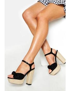 Espadrille Knot Front Platform Heels by Boohoo