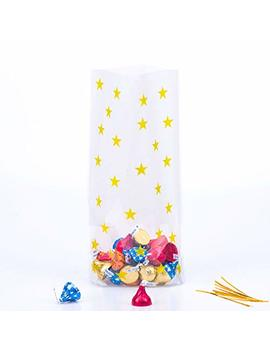 gold-star-candy-plastic-clear-cello-bags-party-favor-cellophane-treat-bags,pack-of-100 by zooyoo
