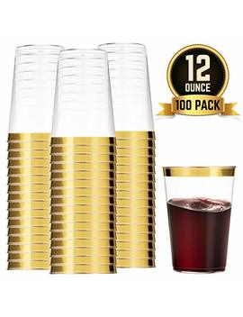 100 Gold Plastic Cups 12 Oz Clear Plastic Cups Tumblers Gold Rimmed Cups Fancy Disposable Wedding Cups Elegant Party Cups With Gold Rim by Munfix