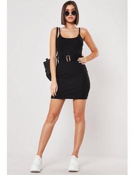 black-rib-tortoiseshell-belt-cami-bodycon-mini-dress by missguided