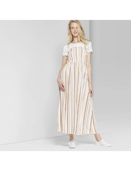Women's Striped Sleeveless Tie Strap Smocked Top Maxi Dress   Wild Fable Cream/Rose by Wild Fable Cream/Rose