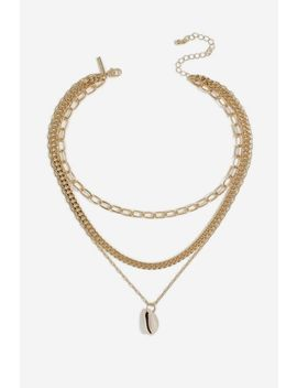 **Oval Link Shell Drop Necklace by Topshop