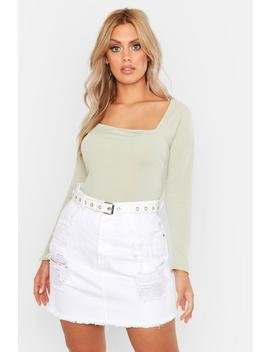 Plus Rib Square Neck Fitted Top by Boohoo