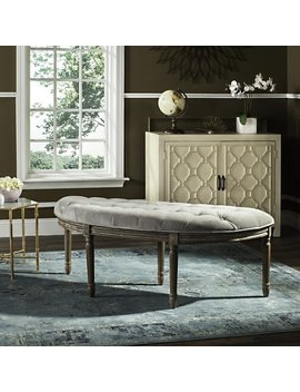Lanier Tufted Rustic Semi Circle Grey Bench by Safavieh