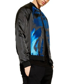 Satin Print Bomber Jacket by Topman