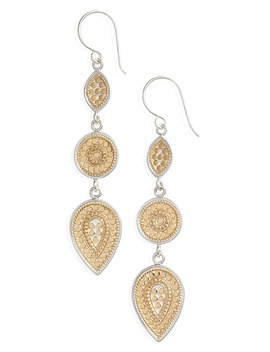 Two Tone Linear Drop Earrings by Anna Beck