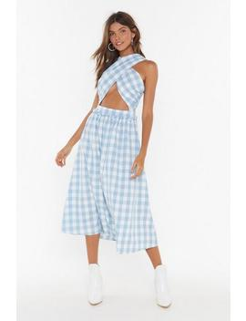 Square's No Time Like The Present Gingham Wrap Dress by Nasty Gal