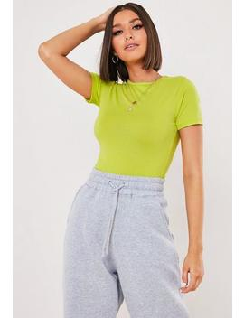 Neon Green Fitted Crew Neck T Shirt by Missguided