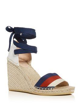 Women's Ankle Tie Platform Wedge Espadrille Sandals by Gucci